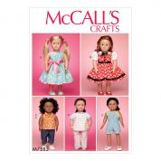 McCalls Craft Easy Sewing Pattern 7593 Play & Dress Up Doll Clothes