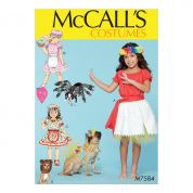 McCalls Girls & Pets Easy Sewing Pattern 7584 Gathered Top & Skirt & Dog Costumes