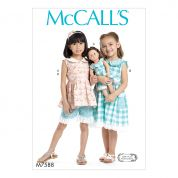 McCalls Girls & Dolls Easy Sewing Pattern 7588 Button Front Top & Dress, Shorts & Doll Dress