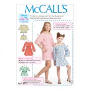 McCalls Girls Easy Learn to Sew Sewing Pattern 7590 Top, Dress, Romper & Shorts