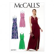 McCalls Ladies Easy Sewing Pattern 7591 Pullover Surplice Style Dresses with Sash