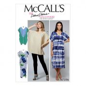 McCalls Ladies Sewing Pattern 7596 Loose Fitting V Neck Pullover Tunic & Dresses