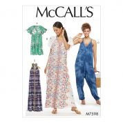 McCalls Ladies Easy Sewing Pattern 7598 Very Loose Fitting Dresses & Jumpsuit
