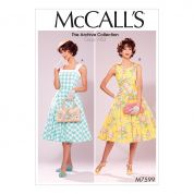 McCalls Ladies Sewing Pattern 7599 Vintage Style Lined Flared Dresses with Petticoat