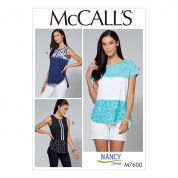 McCalls Ladies Sewing Pattern 7600 Pullover Tops with Contrast & Sleeve Variations