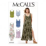 McCalls Ladies Easy Sewing Pattern 7603 Loose Fitting Button Front Tops