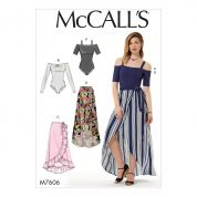 McCalls Ladies Easy Sewing Pattern 7606 Off The Shoulder Bodysuits & Wrap Skirts