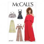 McCalls Ladies Easy Sewing Pattern 7607 Loose Fitting Top, Romper, Jumpsuit & Pants