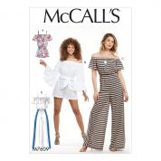 McCalls Ladies Easy Sewing Pattern 7609 Pull On Off The Shoulder Rompers & Jumpsuits