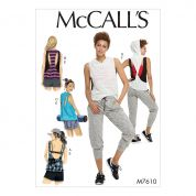 McCalls Ladies Easy Sewing Pattern 7610 Sporty Tops & Pull On Shorts & Pants