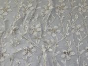 Meena Crystal Lace Fabric  Ivory