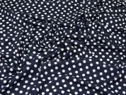 Spotty Jersey Knit Fabric  Navy & Spot