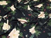 Floral Scuba Crepe Knit Fabric  Black
