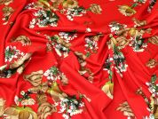 Floral Scuba Knit Fabric  Red