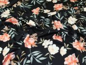Floral Scuba Knit Fabric  Peach on Black