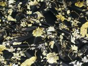 Floral & Birds Velvet Knit Fabric  Gold on Black