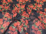 Floral Stretch Mesh Fabric  Red on Black