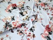 Birds & Flowers Pebble Crepe Fabric  Silver Grey
