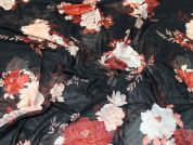 Floral Stretch Mesh Fabric  Black & Salmon