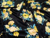 Floral Velour Knit Fabric  Multicoloured