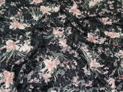Floral Stretch Lace Fabric  Pink on Black