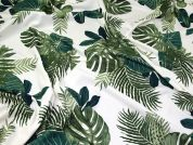 Tropical Scuba Crepe Knit Fabric  Green on Ivory