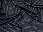Stripe Ponte Roma Knit Fabric  Navy Blue