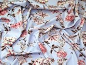 Floral Scuba Knit Fabric  Sky Blue