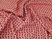 Woven Jacquard Fabric  Red & White