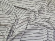 Stripe Ponte Roma Knit Fabric  Ivory & Grey