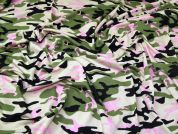 Camouflage Jersey Knit Fabric  Pink & Green