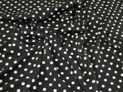 Spotty Scuba Knit Fabric  Black & White