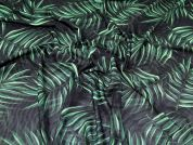 Leaves Stretch Mesh Fabric  Green
