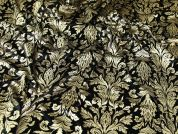 Foil Print Stretch Velour Fabric  Black & Gold
