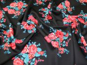 Floral Scuba Knit Fabric  Black & Red