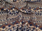Wool Blend Coating Fabric  Brown & Navy