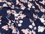 Floral Jersey Knit Fabric  Pink & Navy