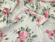 Floral Print Scuba Stretch Jersey Dress Fabric  Pink on White