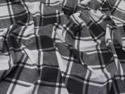 Plaid Check Double Jersey Stretch Knit Dress Fabric  Black & Grey