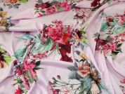Floral Print Loose Knit Stretch Jersey Dress Fabric  Pink