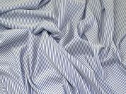 Stripe Stretch Shirting Dress Fabric  Blue & White