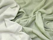 Stripe & Plain Reversible Double Gauze Dress Fabric  Green & Cream