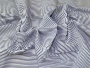 Woven Stripe Cotton Voile Dress Fabric  Blue & White
