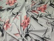 Floral Scuba Knit Fabric  Pink on Grey