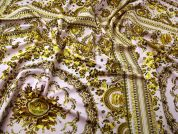 Large Scale Scuba Knit Fabric  Pink & Gold