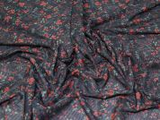 Floral Stretch Mesh Fabric  Black