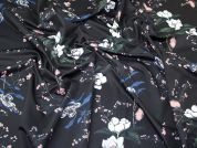 Floral Scuba Knit Fabric  Black