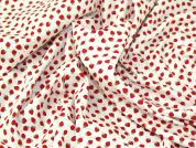 Mini Strawberry Print Cotton Poplin Fabric  Red & Ivory
