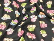Funky Cupcakes Print Cotton Poplin Fabric  Black Multi