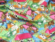 Farm Scene Print Cotton Poplin Fabric  Multicoloured